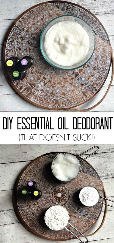 DIY Essential Oil Deodorant (that doesn't suck!)- 1 cup of coconut oil, 1/2 cup of tapioca or arrowroot, 1/3 cup of baking soda, 5 drops lavender, 5 drops lime 5 drops melaleuca