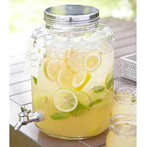 Mason Jar Water Tank - would love to have something similar to this for parties, glass with a metal spigot.
