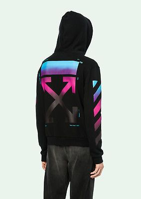 16b80a97ef10 Off White Virgil Alboh 2018 Black Gradient Rainbow Zip Hoodie ...