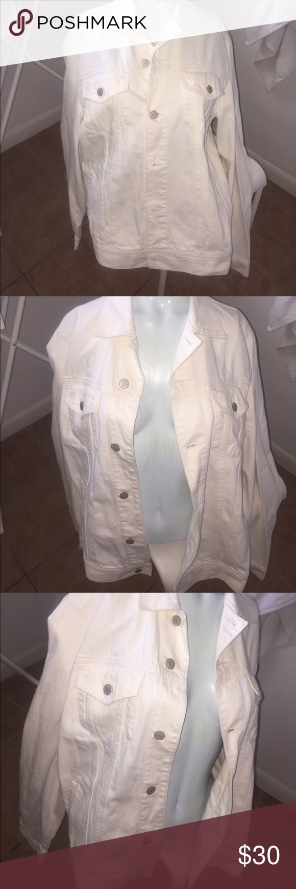 Classic men's Jean Jacket White Jean button up jacket brand new with tags Jackets & Coats