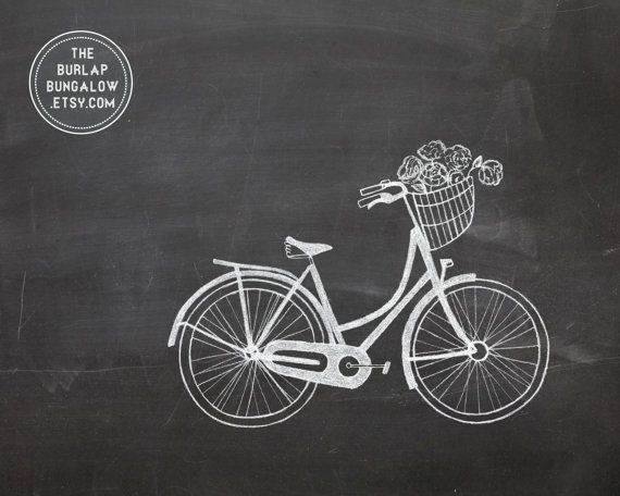 Spring Chalkboard Art Printable Vintage Bike by TheBurlapBungalow, $5.00