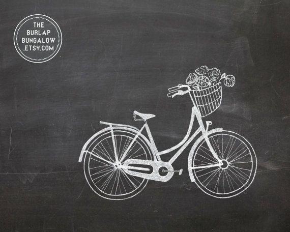 Spring Chalkboard Art Printable Vintage Bike by TheBurlapBungalow, $5.00