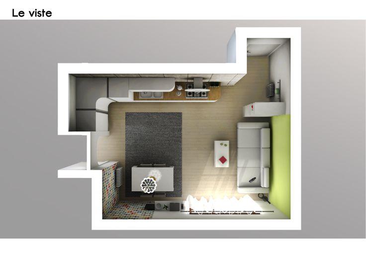 Spazio 14 10 | architettura interni low cost - Roma :: Living SMART: La cucina bianca con profili arrotondati, molto di moda negli ultimi anni, scelta dal cliente è messa in risalto dalla parete rivestita in gres porcellanato effetto cemento