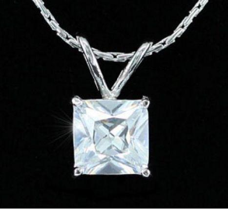 Κολιέ με Κρεμαστό Κόσμημα Προσομοίωση Διαμαντιού 1.5 Καράτια Princess Cut - http://www.memoirs.gr/