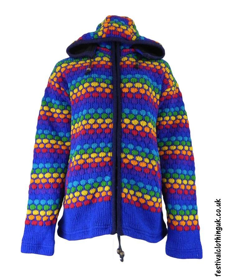 Wool Jacket with Removable Hood Blue Rainbow LXL | Wool