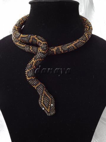Beaded Snake necklace. Extraordinary!