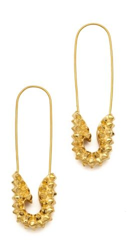 Punk Pave Short Safety Pin Earrings