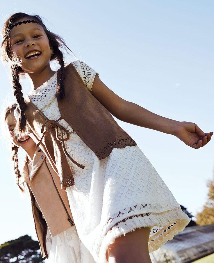Girl's Fringe Lace Dress - Bardot Junior