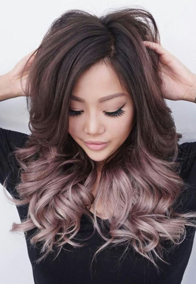 Tendance Couleur de cheveux Rose gold balayage ombre on brunette hair