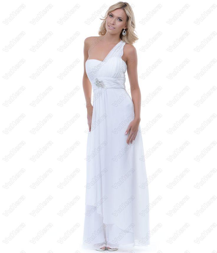 White Chiffon One Shoulder Long Prom Dress