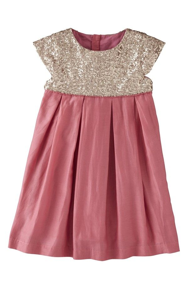 Mini Boden Cap Sleeve Sequin Cotton & Silk Dress (Little Girls & Big Girls) | Nordstrom