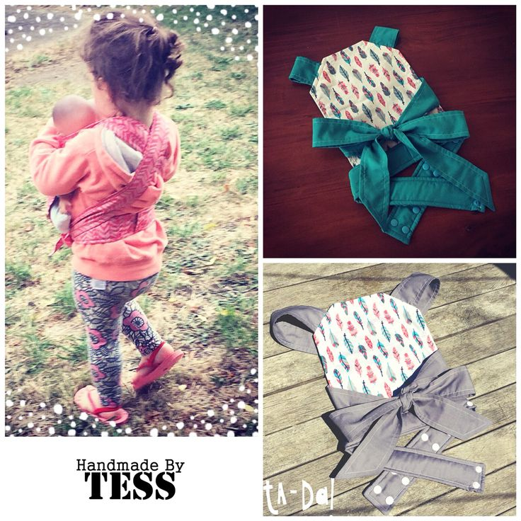 Handmade by Tess Children's Doll Carrier  Babywearing Babies!!  Not for use with human (or animal) babies!  Www.facebook.com/HandmadeByTess   Www.etsy.com/HandmadeByTessShop
