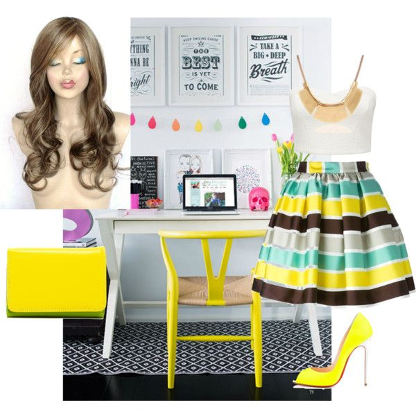 A fashion look from February 2015 featuring white crop top, multi colored skirt and yellow shoes. Browse and shop related looks.