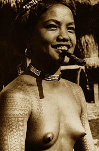 Vintage Ethnic Tattoo Nude Philippines Cigar Smoker Tribal Body ...