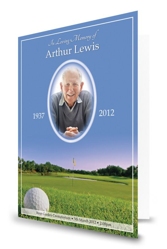 golf themed funeral order of service design
