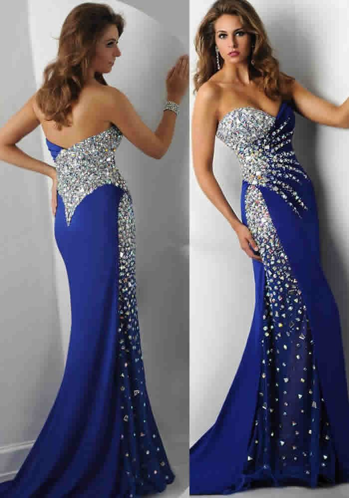 dressestime.com Stunning Sweetheart Sleeveless Beaded Crystal Royal Blue Prom Dresses Mermaid evening dress, beading prom dresses. long prom dress,Fashion prom dress,Floor Length party dresses