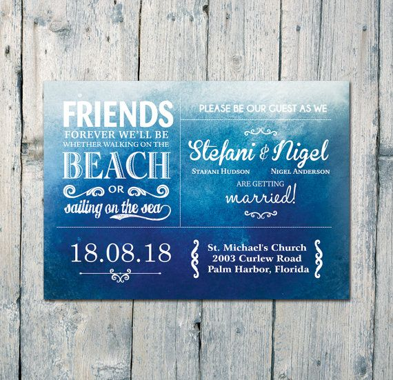 Digital - Printable Files - Blue Ocean Merriment Wedding Invitation and Reply Card Set - Wedding Stationery - ID385