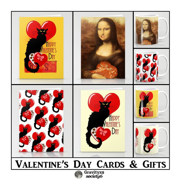 Valentine's Day Cards by #SpoofingTheArts ~ Choose from cards, mugs, tee shirts and more at #Society6 ! - #valentinesdaycards #valentinesdaycard  #gravityx9 #happyvalentineday #justacard #valentinesday #valentinesgifts #thisvalentinesday #14thfebruary #artparody #fineartparody #monalisa #lechatnoir #love ~