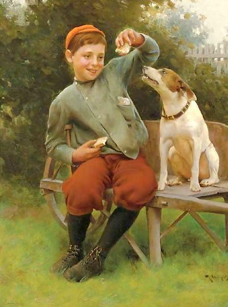 Teasing My Best Friend.   Karl Witkowski  1860-1910