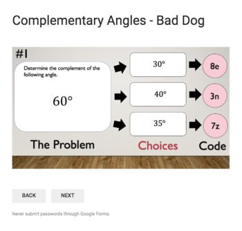 Complementary Angles – Bad Dog Breakout for Google Classroom