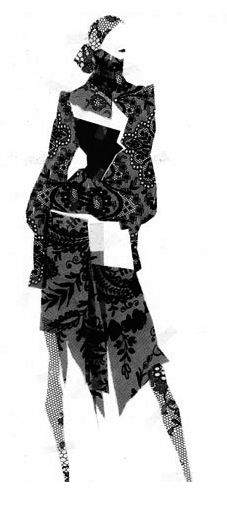 Fashion illustration - fashion collage drawing with lace // Pierre-Louis Mascia