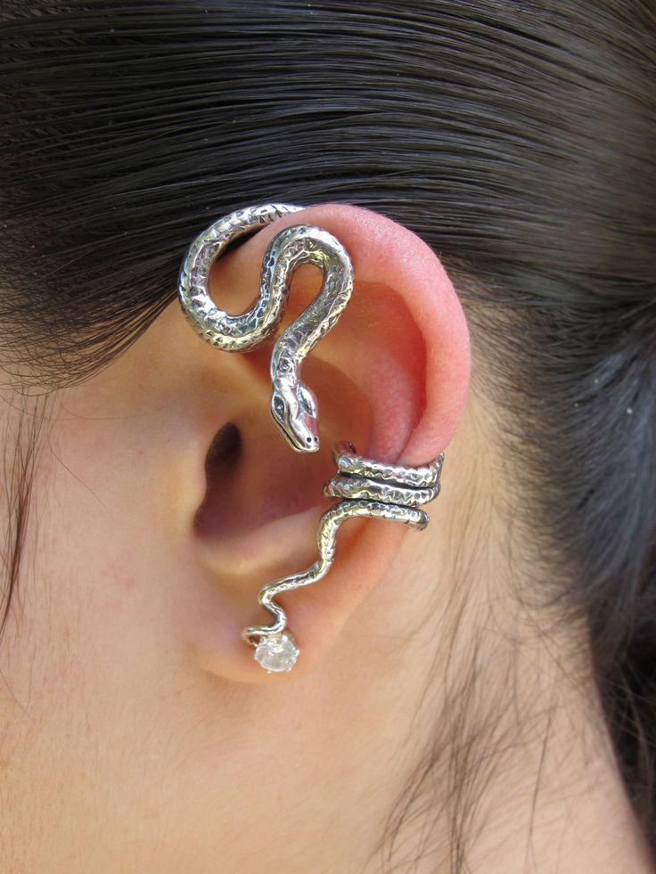 Snake Ear Wrap Silver Python Snake Ear Wrap Snake by martymagic