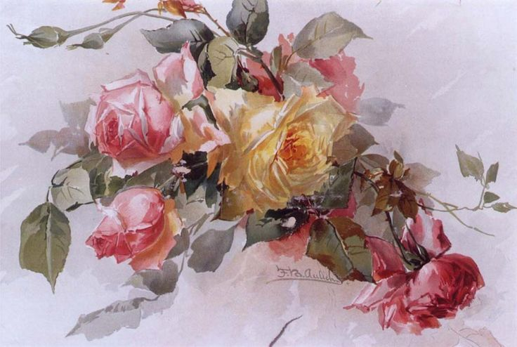 Roses by Franz B. Aulich, a decorative painter of the late nineteenth century.