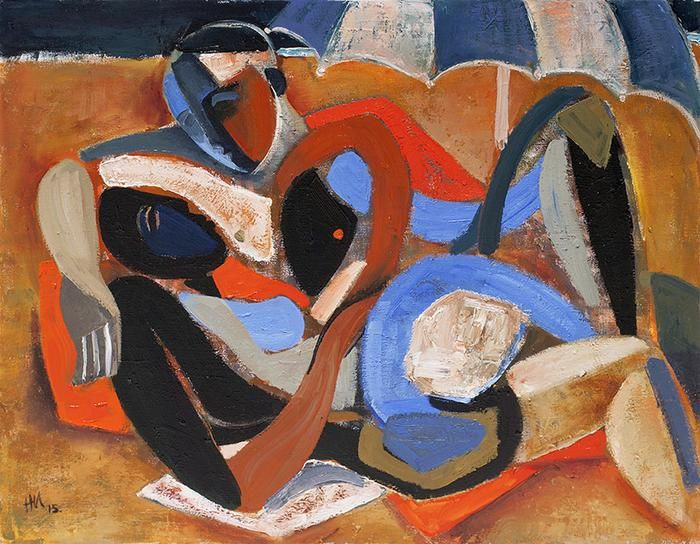 hennie niemann jnr, bathers and brolly, composition, art, contemporary art, cubism,oil on canvas, arte, kunst, south african artist