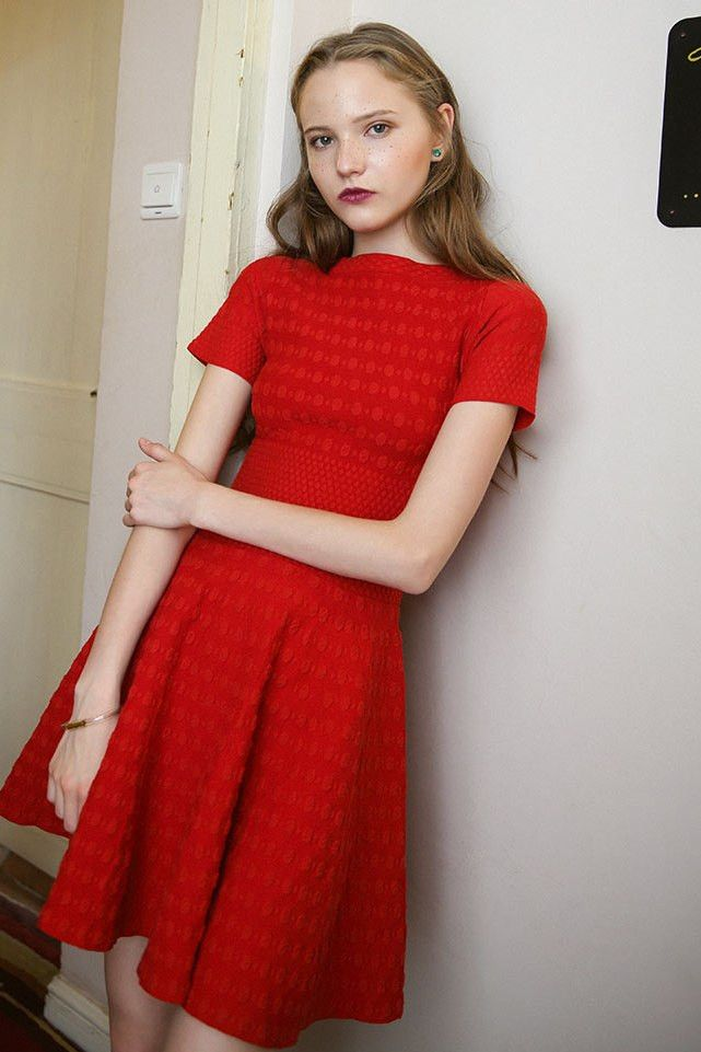Red Fit + Flare Mini Dress  #genuine-people