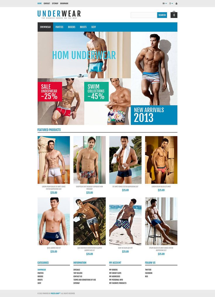 9+ Best Mens Underwear Store Ecommerce PrestaShop Themes - Responsive Underwear Store PrestaShop Theme