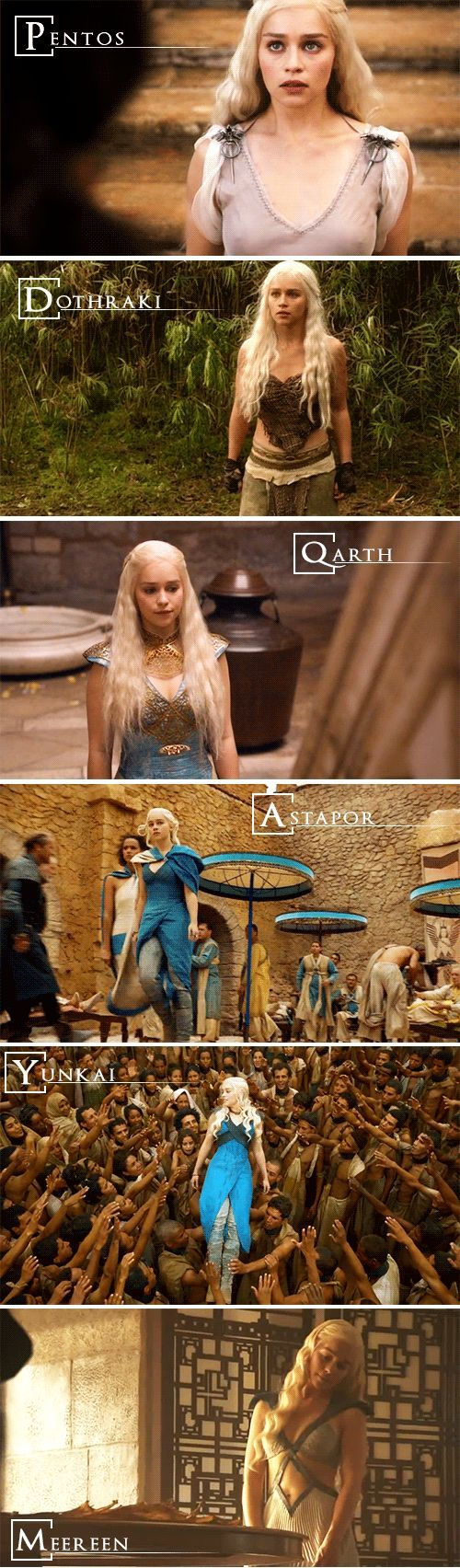 Daenerys Targaryen (This is really going to bug me. The second picture should be Essos. Essos is the place, Dothraki is the race of people and language. And since all the other pictures are of outfits in the place she wears them the second one should be changed.)