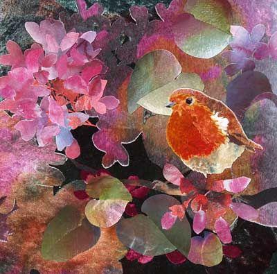 "Robin in Judas Tree fabric collage by Amanda Richardson 13""x13"""