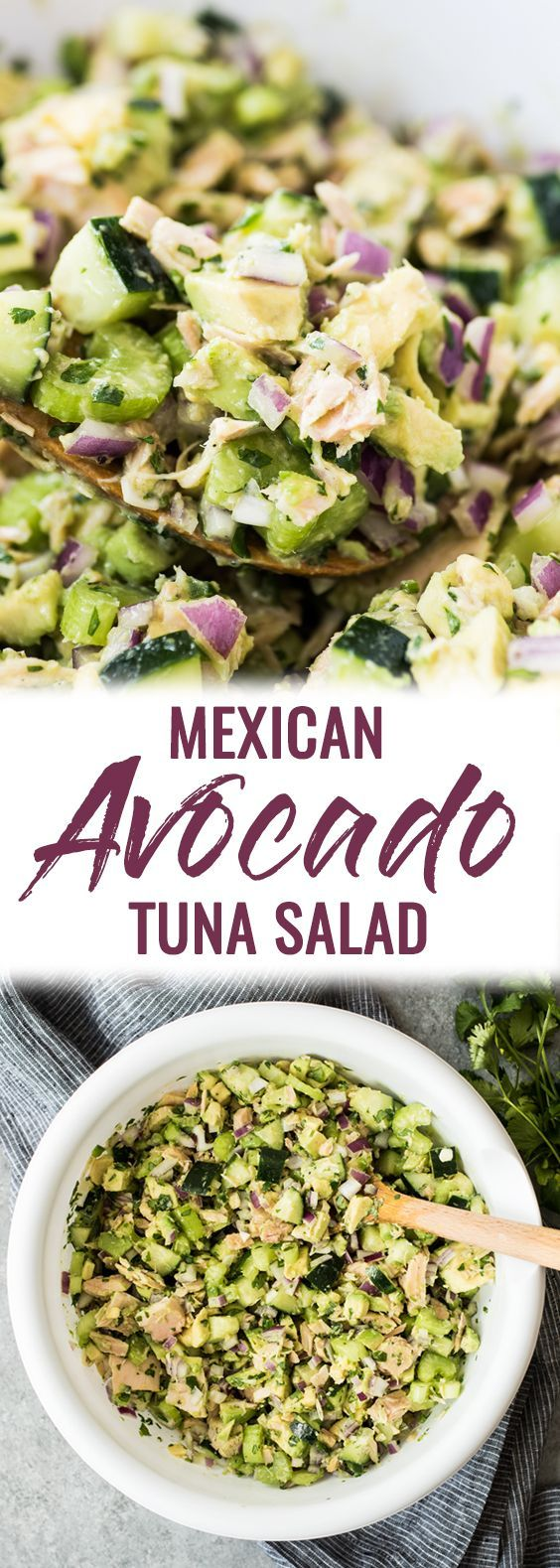 This Avocado Tuna Salad combines healthy fat from avocados and lean protein from tuna for a quick and easy mayo-free lunch or snack! It's also gluten free, low carb and paleo. Ready in only 10 minutes! #tunasalad #avocadosalad #lunch #lowcarb