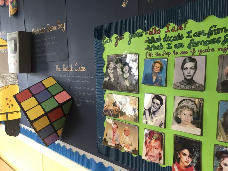 Through the decades primary school display, Rubik cube. 50s, 60s, 70s, 80s, 90s, 00s. Made by Charley