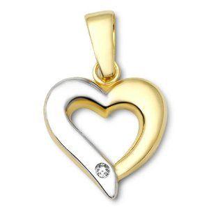 Miore Damen-Anhänger Herz 9 Karat 375 Bicolor Brillant MA985P  http://electmejewellery.com/jewelry/necklaces/miore-damenanhnger-herz-9-karat-375-bicolor-brillant-ma985p-de/