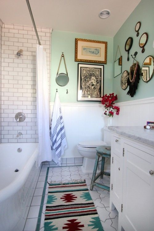 Best Eclectic Bathroom Ideas On Pinterest Bohemian Bathroom - Green bathroom rugs for bathroom decorating ideas