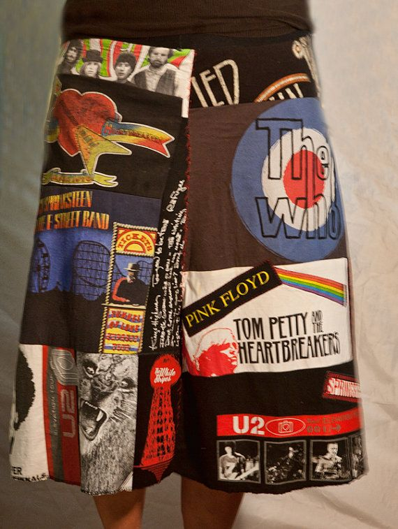 Love this custom made skirt of old t-shirts found onSew Me Whtcha Got on Etsy!