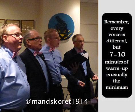 Endelig tirsdag. Warm-up for #malechoir, 7 - 10 minutes is a minimum.  #mandskor