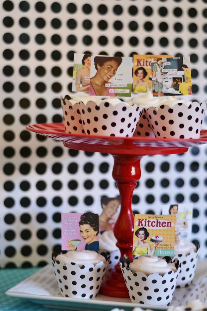 1950's Housewife themed Bridal Shower with SUCH CUTE IDEAS via Kara's Party Ideas KarasPartyIdeas.com #housewifebridalshower #1950sparty #br...