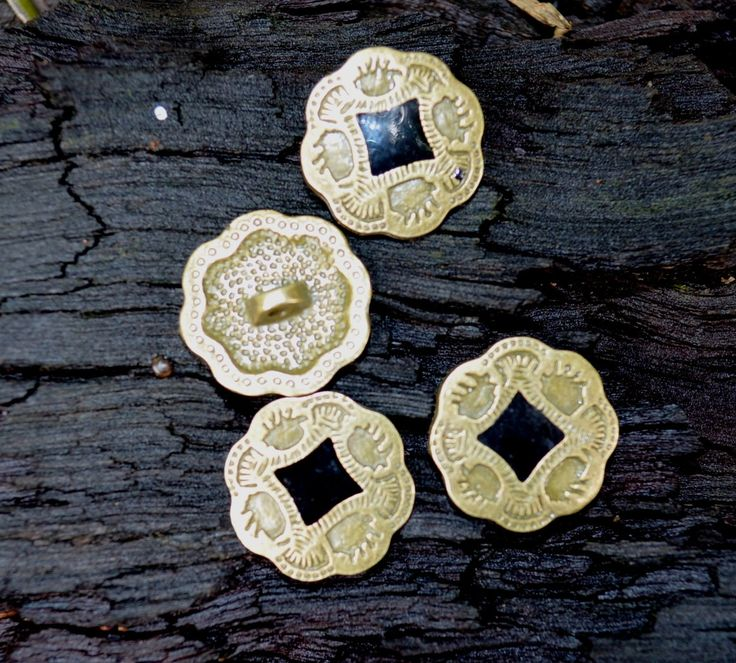 set of 3 x antiqued bronze floral design metal shank buttons with black center by yourbuttonshop on Etsy