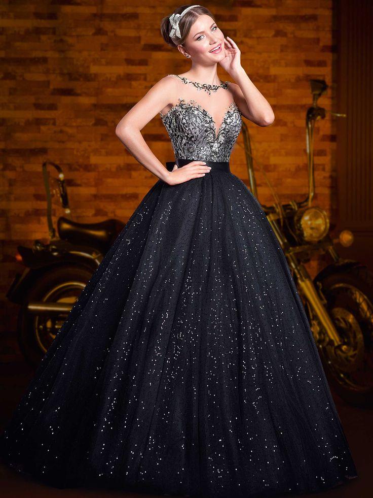 Vestido para debutante 15 anos preto e prata