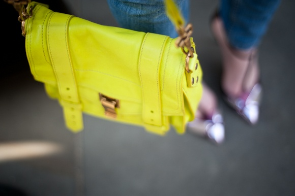 What the ELLE team wore to the office yesterday...20Th Marching, Black Handbags, Proenza Bags, Mellow Yellow, Plain Black, The Offices, Bags Becca, Schouler Bags, Neon Yellow