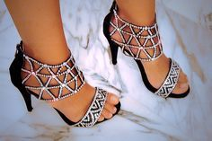 Beautiful black high heel prom shoes 2014 with silver rhinestone details