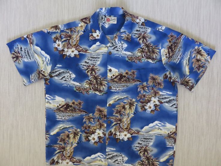 Vintage Hawaiian Shirt 80s HILO HATTIE Ukulele Hibiscus Outrigger Canoe Coconut Trees Surf Aloha Mens Blue - XL - Oahu Lew's Shirt Shack by OahuLewsShirtShack on Etsy