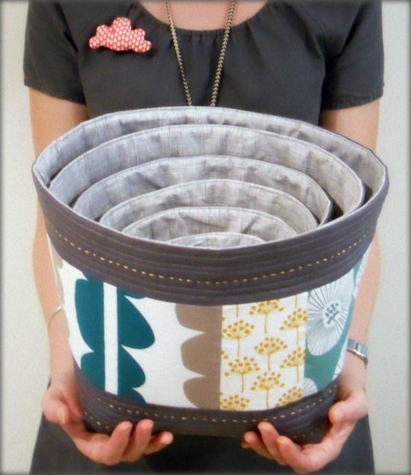 nesting fabric bowls: Nesting Fabric, Fabric Bowls, Bowls Pattern, Bag, Fabrics, Diy, Fabric Sewing Patterns
