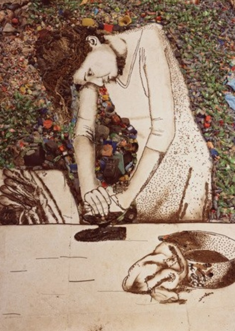 (Vik Muniz) made from materials found in the largest landfill in Brazil