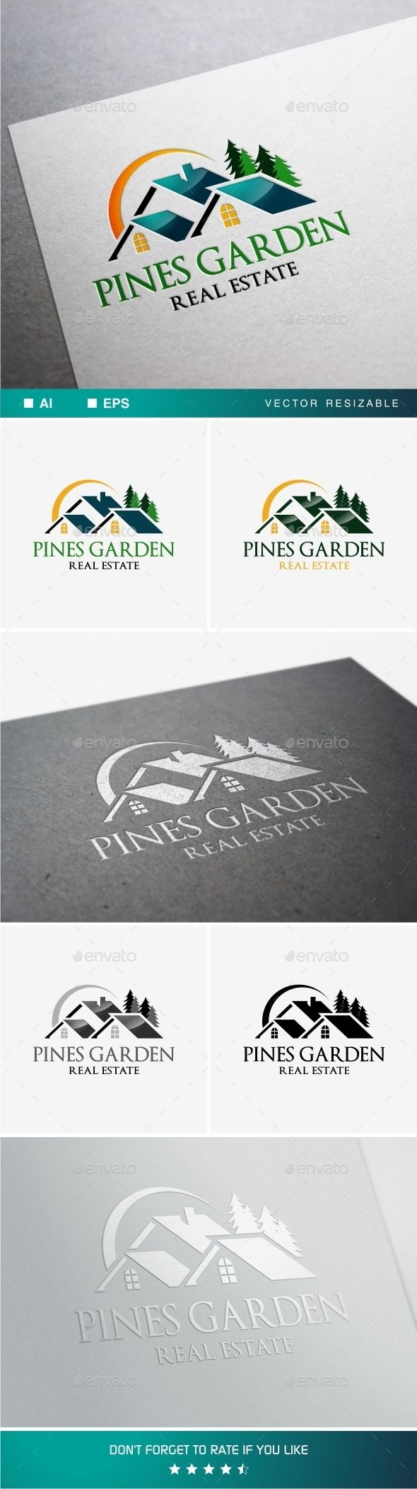 Pines Garden Real Estate Logo Design Template Vector #logotype Download it here:  http://graphicriver.net/item/pines-garden-real-estate-/11265331?s_rank=1712?ref=nesto