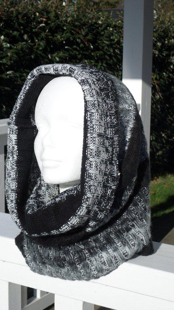 2ab3567ca5f snood tour de cou écharpe tube cache cou cagoule capuche bonnet pour  femme maille gris et noir nouvelle collection automne hiver 2018