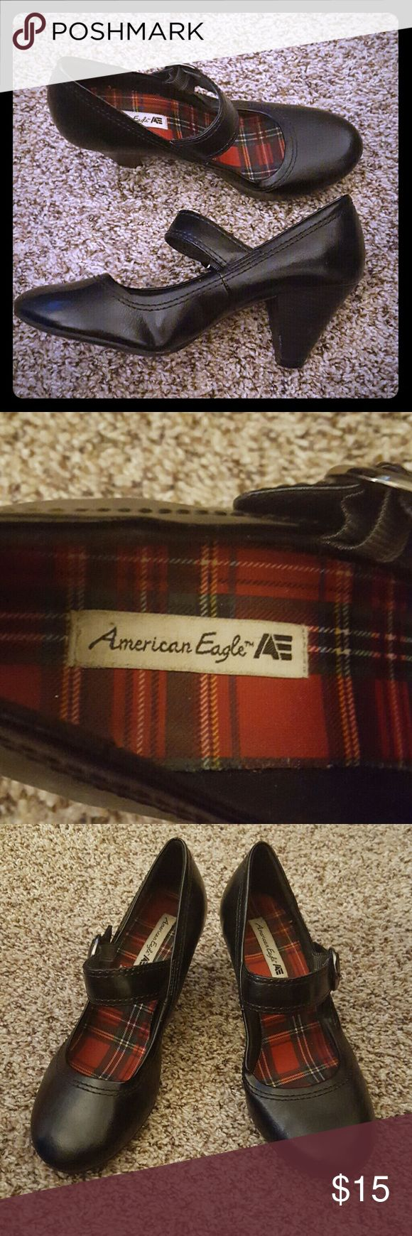 American Eagle Black Mary Janes Super comfortable Mary Jane heels! Gently used. Some creases from wear (shown above). American Eagle Shoes Heels