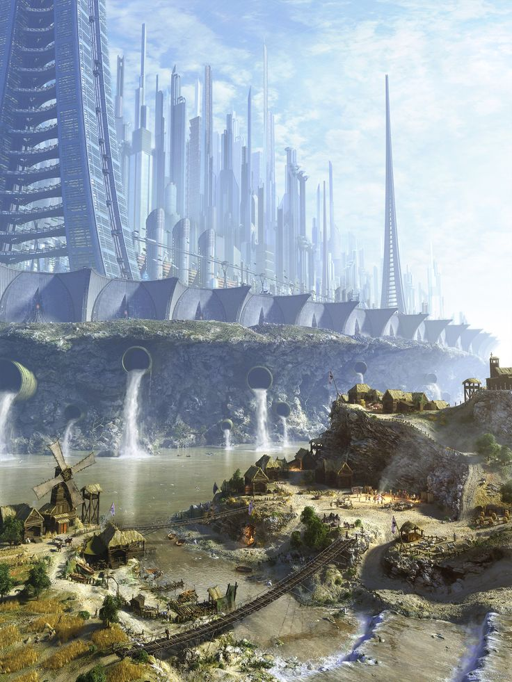 Concept Art Writing Prompt: The Futuristic City Above and the Primitive Village…
